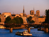 Seine River, Ile de la Cite, Notre Dame Cathedral in Background, Paris, Ile-De-France, France Photographic Print by John Elk III