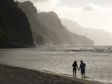 Strolling on Na Pali Coast, Ke'E Beach, Kauai, Hawaii Photographic Print by John Elk III