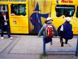 Children Waiting for Bus at Holstentorplatz, Lubeck, Schleswig-Holstein, Germany Photographic Print by Martin Lladó