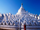 Buddhist Monk Contemplating Hsinbyume Paya, Mingun, Mandalay, Myanmar Photographic Print by Stu Smucker