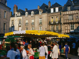People and Stalls in Market Place, Vannes, Brittany, France Photographic Print by Dan Herrick