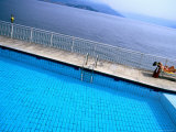 Pool of Hotel la Palma Next to Lake Maggiore, Stresa, Piedmont, Italy Photographic Print by Martin Lladó