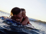 Woman and Girl Boogie-Boarding, Arenal, Guanacaste, Costa Rica Photographic Print by Philip & Karen Smith
