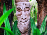 Kanak Carving Detail at Meridian Hotel, Ile des Pins, New Caledonia Photographic Print by Peter Hendrie