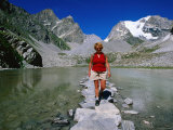 Vanoise Pass Lac des Assiettes, Hiker, Vanoise National Park, Rhone-Alpes, France Photographic Print by John Elk III