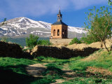 Country Path to Village Church Beneath Snow Capped Sierra Nevada, La Calahorra, Andalucia, Spain Photographic Print by David Tomlinson
