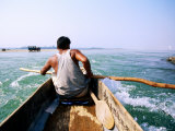 Man Canoeing on River, Royal Chitwan National Park, Narayani, Nepal Photographic Print by Michael Gebicki