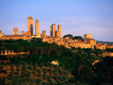 Trees and Buildings of Town at Sunrise, San Gimignano, Tuscany, Italy Fotografisk tryk af John Elk III
