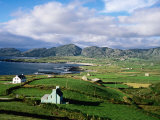 Cottages with Coastline in Distance, Ireland Photographic Print by Holger Leue