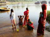 Females Washing in River in Morning, Hampi, Karnataka, India Photographic Print by Greg Elms