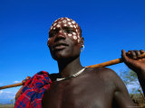 Mursi Man, Mago National Park, South Omo, Ethiopia Photographic Print by Ariadne Van Zandbergen