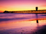 Seal Beach Pier at Sunset, California Photographic Print by Richard Cummins