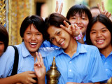 Schoolgirls at Wat Pho Celebrating Buddha Day, Ratanakosin, Bangkok, Thailand Photographic Print by Ray Laskowitz