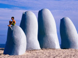El Mano Beach Sculpture on Playa Brava, Punta del Este, Maldonado, Uruguay Photographic Print by Krzysztof Dydynski