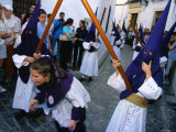 Children in Masks and Holding Sticks for Semena Santa Celebrations, Cordoba, Andalucia, Spain Photographic Print by Doug McKinlay