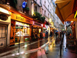 Qaurtier , Latin Quarter at Night, Rue de la Huchette, Paris, Ile-De-France, France Photographic Print by John Elk III