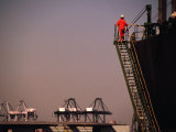 Crew Member Entering Cargo Ship on Ladder, Los Angeles, California Photographic Print by Thomas Winz