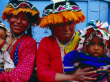 Two Mothers with Children in Traditional Colourful Clothing, Pisac, Cuzco, Peru Photographic Print by Jeffrey Becom