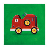 Red Racing Car, Number 8 Prints by Simon Hart