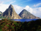 The Pitons Seen from Anse Chastanet, Soufriere Photographic Print by Holger Leue