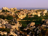 Citadel Rocks and Township in Evening, les Baux de Provence, Provence-Alpes-Cote d'Azur, France Photographic Print by David Tomlinson