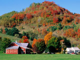 Farm Surrounded by Autumn Foliage, Near St. Johnsbury, St. Johnsbury, Vermont Photographic Print by John Elk III