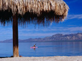 Thatch Umbrella and Canoe Paddler at Beach Playa Buenaventura Palapa, Baja California Sur, Mexico Photographic Print by Witold Skrypczak