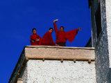 Monks on Rooftop of Monastary, Tikse, Jammu and Kashmir, India Photographic Print by Daniel Boag