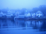 Boothbay Harbor, Houses in Morning Fog, Boothbay, Maine Photographic Print by John Elk III