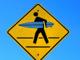 Surfer Warning Sign, Kauai, Hawaii Stampa fotografica di Holger Leue