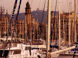 Yacht Masts at Marina, Barcelona, Catalonia, Spain Fotografie-Druck von Witold Skrypczak