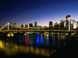 Story Bridge and City Skyline at Night, Brisbane, Queensland, Australia Photographic Print by Holger Leue