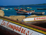 Boats on Waterfront of Chichiriviche with Islands in Background, Falcon, Venezuela Photographic Print by Krzysztof Dydynski