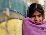 Girl Leaning Against Wall, Mandawa, Rajasthan, India Photographic Print by Daniel Boag