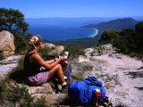 Hiker Sitting on Top of Mt. Graham, Freycinet National Park, Tasmania, Australia Photographic Print by Michael Gebicki