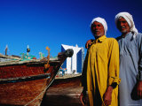 Two Arab Workers in Dhow Harbour, Dubai, United Arab Emirates Photographic Print by Izzet Keribar