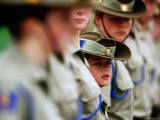 Cadets Standing to Attention During the Anzac Day Ceremony, Melbourne, Australia Photographic Print by Daniel Boag