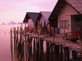 Stilt Houses at Dusk, Ko Panyi, Phang-Nga, Thailand Photographic Print by Dominic Bonuccelli