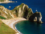 Durdle Door Near Lulworth from Clifftop Path, Lulworth, Dorset, England Photographic Print by David Tomlinson