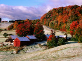 Trees in Autumn at Jenne Farm with Dusting of Snow, South Woodstock, Woodstock, Vermont Photographic Print by John Elk III
