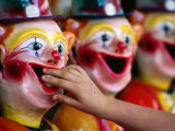 Placing the Ball Down Clown&#39;s Mouth at Sunbury Show, Victoria, Australia Photographic Print by Daniel Boag