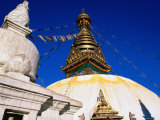 Swayambunath Temple with Prayer Flags, Kathmandu, Bagmati, Nepal Photographic Print by Christer Fredriksson