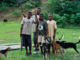 Villagers with Their Dogs Ready for Pig Hunting, Viti Levu, Western Division, Fiji Photographic Print by Daniel Boag