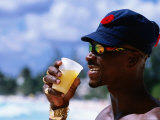 Man Enjoying Cool Bajan with Rum Punch, Sugar Reef Beach, Dover, Christ Church Photographic Print by Holger Leue