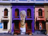 Facade of Building with Mural, Casa Abierta del Dirigente Social, Santiago, Chile Photographic Print by Krzysztof Dydynski