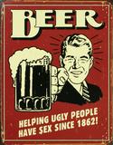Bierposter, met Engelse tekst Blikken bord
