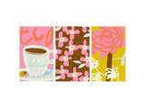 Tea Time Patterns Triptych Kunstdruck
