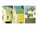 Yellow Houses Triptych Prints