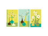 Retro Flowers in Vase Triptych Posters