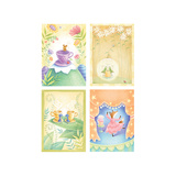 Tea Time Critters Four Patch Giclée-Premiumdruck